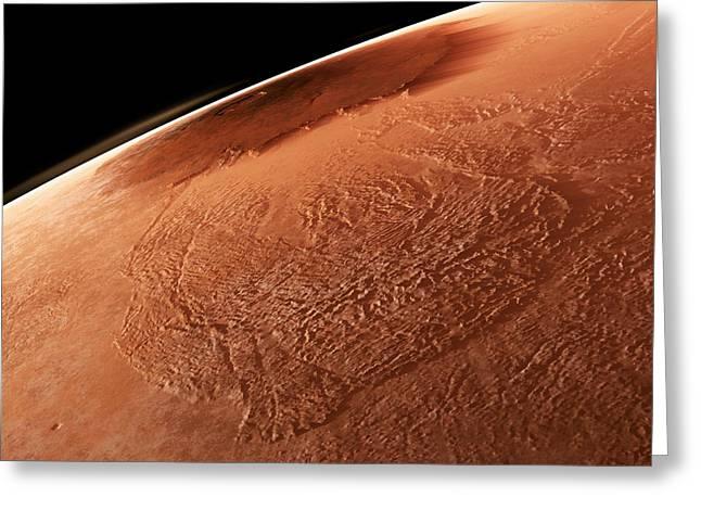 Olympus Mons, Mars Greeting Card by Detlev Van Ravenswaay