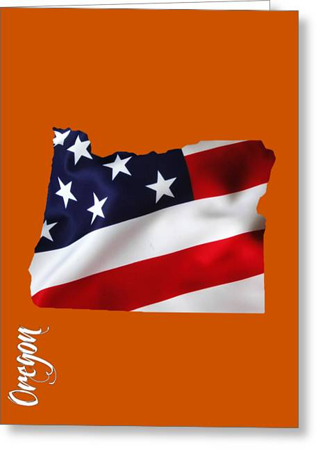 Oregon State Map Collection Greeting Card by Marvin Blaine