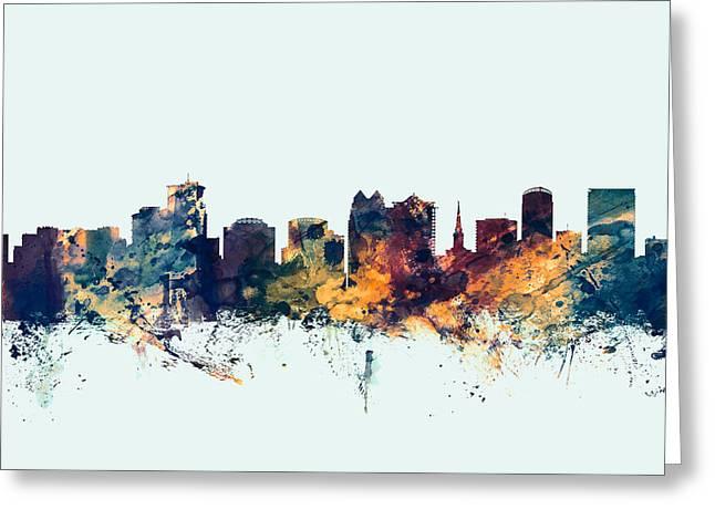 Orlando Greeting Cards - Orlando Florida Skyline Greeting Card by Michael Tompsett