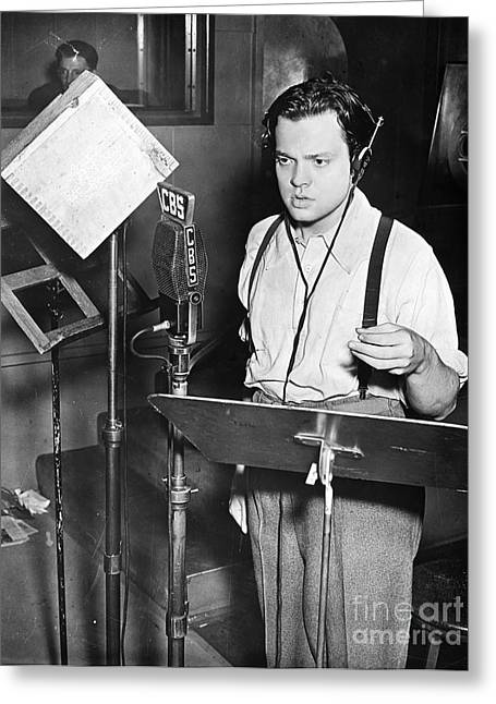 Suspenders Greeting Cards - Orson Welles (1915-1985) Greeting Card by Granger