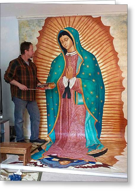 Large Scale Drawings Greeting Cards - Our Lady of Guadalupe Greeting Card by Patrick Rankin