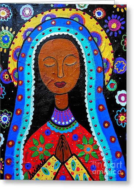 Flower Blooms Greeting Cards - Our Lady Of Guadalupe Greeting Card by Pristine Cartera Turkus