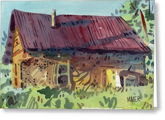 Shed Paintings Greeting Cards - Outbuilding Greeting Card by Donald Maier