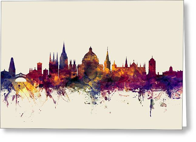 Great Cities Universities Greeting Cards - Oxford England Skyline Greeting Card by Michael Tompsett