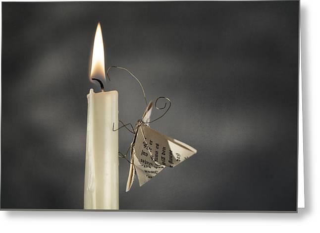 Candlelight Greeting Cards - Paper Butterfly Greeting Card by Nailia Schwarz