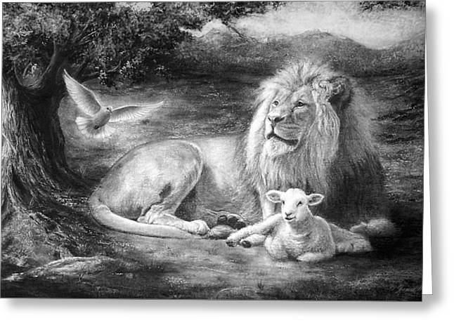 Lion And Lamb Greeting Cards - Peace be with You Greeting Card by James Berger