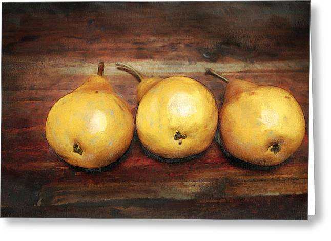Fruit Food Greeting Cards - 3 Pears on a Wooden Table Greeting Card by Julius Reque