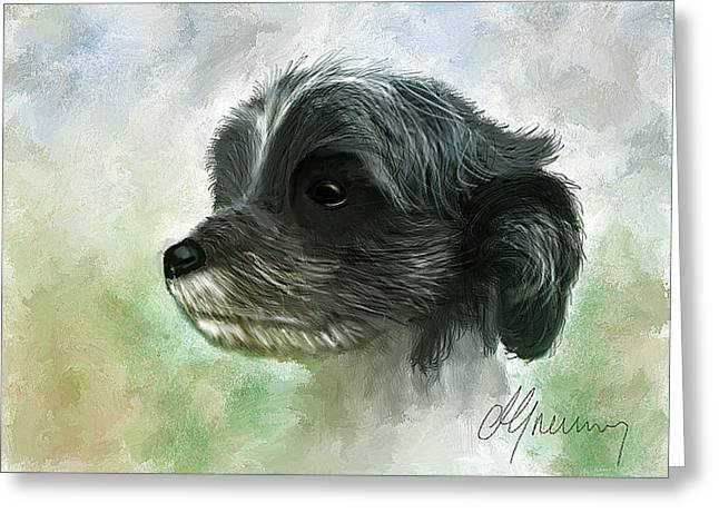 Time2paint Greeting Cards - Pet Dog Portrait Greeting Card by Michael Greenaway