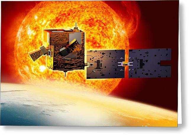 Picard Greeting Cards - Picard Satellite And Sun, Artwork Greeting Card by David Ducros