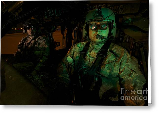 Night Angel Greeting Cards - Pilots Equipped With Night Vision Greeting Card by Terry Moore