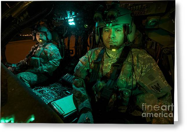 Night Angel Greeting Cards - Pilots Sitting In The Cockpit Greeting Card by Terry Moore