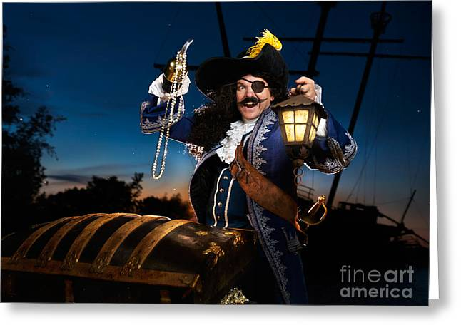 Pirate Ship Greeting Cards - Pirate with a Treasure Chest Greeting Card by Oleksiy Maksymenko