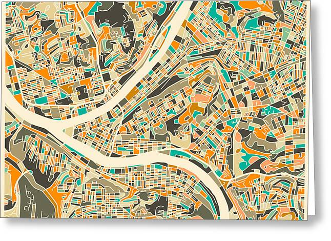 Pittsburgh Map Greeting Card by Jazzberry Blue