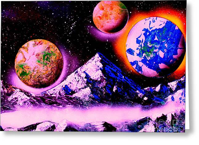 Outer Space Paintings Greeting Cards - 3 Planets 4653 E1 Greeting Card by Greg Moores