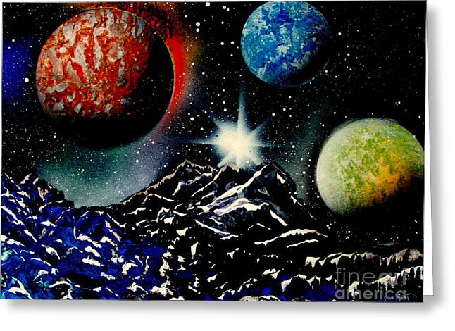 Outer Space Paintings Greeting Cards - 3 Planets 4687 E Greeting Card by Greg Moores