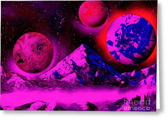 Outer Space Paintings Greeting Cards - 3 Planets 5653 - E2 Greeting Card by Greg Moores
