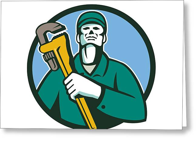 Tool Chest Greeting Cards - Plumber Holding Wrench Circle Retro Greeting Card by Aloysius Patrimonio