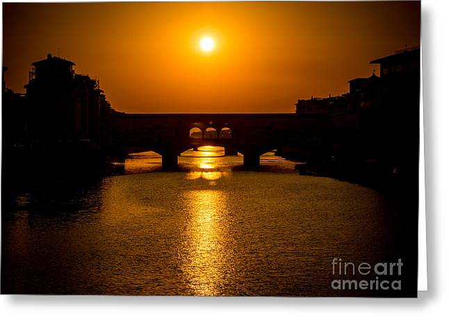 Italian Sunset Greeting Cards - Ponte Vecchio at sunset and the river Arno - Florence - Italy Greeting Card by Bailey Cooper Photography