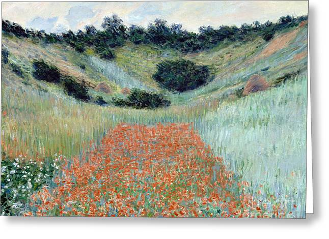 Vintage Painter Greeting Cards - Poppy Field in a Hollow near Giverny Greeting Card by Claude Monet