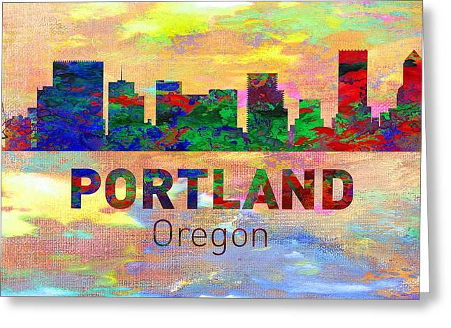 Seattle Skyline Greeting Cards Greeting Cards - Portland Skyline - Usa City Greeting Card by Michael Vicin