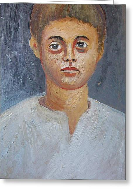 Portrait Of A Boy Greeting Card by George Siaba