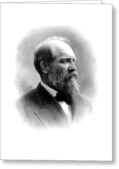 Americana Drawings Greeting Cards - President James Garfield Greeting Card by War Is Hell Store