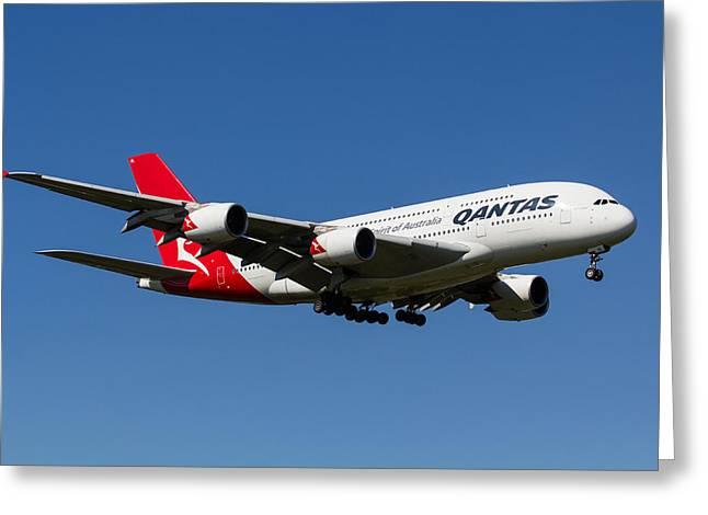 A380 Greeting Cards - Qantas Airbus A380 Greeting Card by David Pyatt