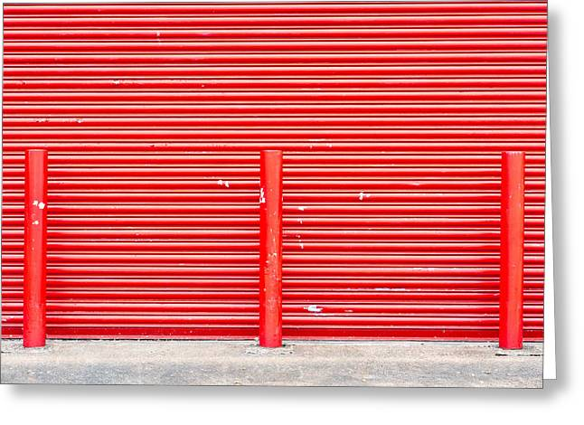 Industrial Background Greeting Cards - Red door Greeting Card by Tom Gowanlock