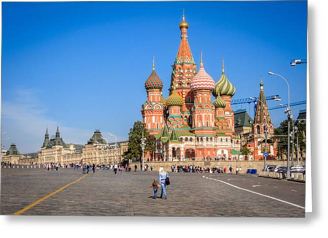 St Basils Greeting Cards - Red Square Greeting Card by Alexey Stiop