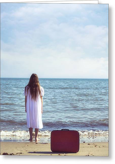 White Dress Greeting Cards - Red Suitcase Greeting Card by Joana Kruse