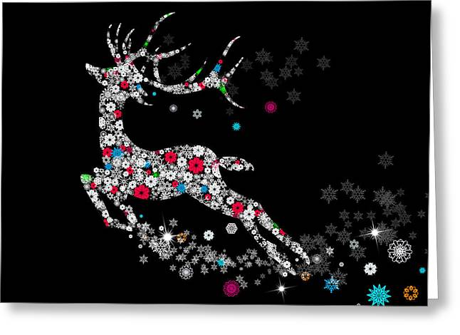 Graphic Mixed Media Greeting Cards - Reindeer design by snowflakes Greeting Card by Setsiri Silapasuwanchai