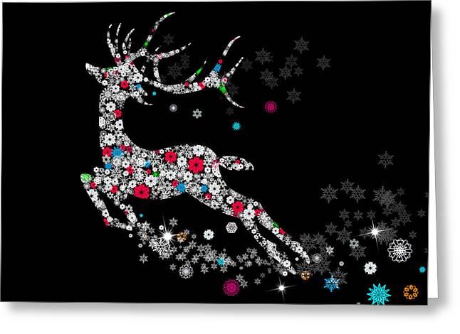 Beauty Mixed Media Greeting Cards - Reindeer design by snowflakes Greeting Card by Setsiri Silapasuwanchai