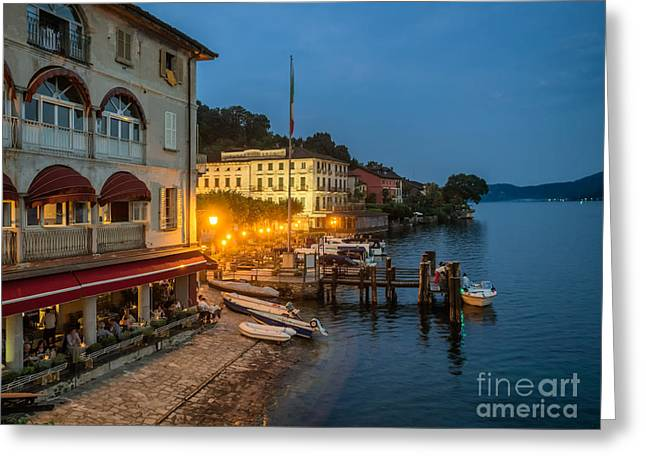 People Greeting Cards - Restaurant on the bank in Orta, Italian Lake District Greeting Card by Frank Bach
