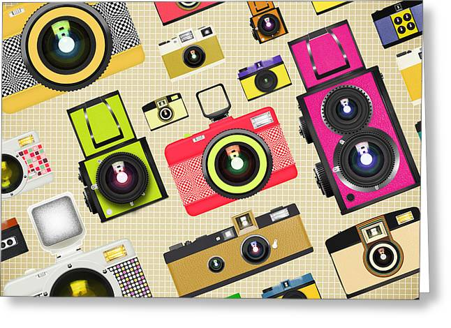 Toys Greeting Cards - Retro Camera Pattern Greeting Card by Setsiri Silapasuwanchai
