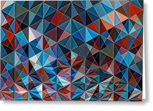 Geometric Artwork Greeting Cards - Retro Colorful Hipster Mosaic Greeting Card by Nenad  Cerovic