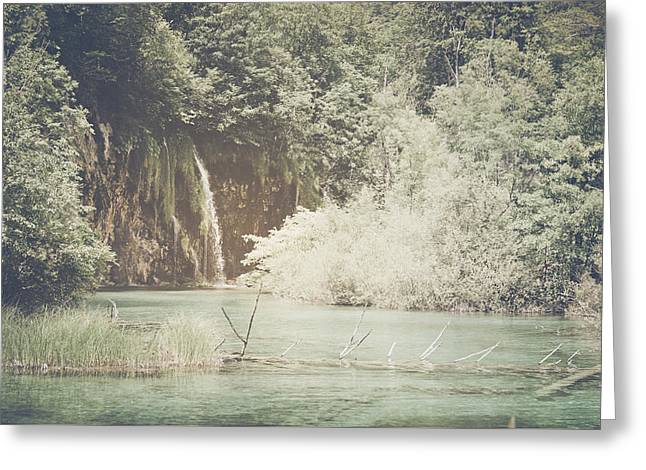 Retro Waterfall With Sunlight With Vintage Film Style Greeting Card by Brandon Bourdages