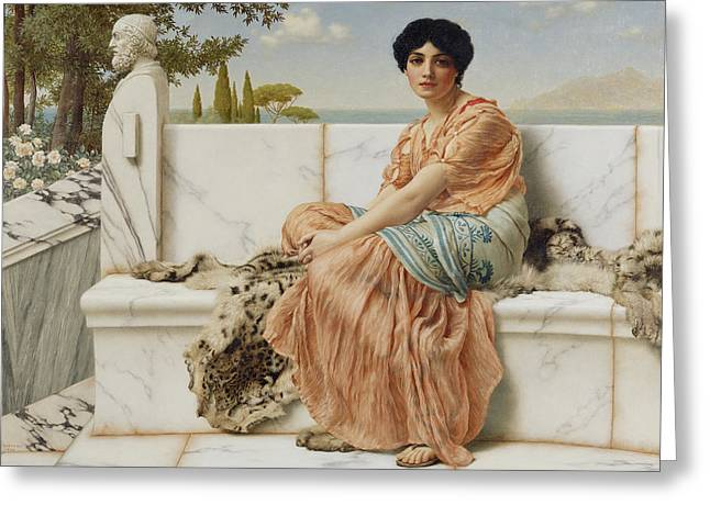 Reverie Paintings Greeting Cards - Reverie Greeting Card by John William Godward