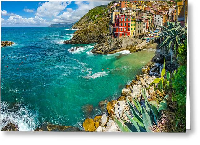 Poetic Fisherman Village Scene In Cinque Terre Greeting Card by JR Photography