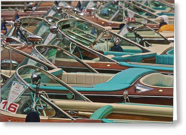 Portofino Italy Greeting Cards - Riva Runabouts Greeting Card by Steven Lapkin