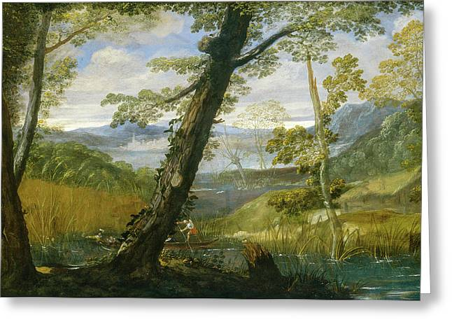 Outlook Greeting Cards - River Landscape Greeting Card by Annibale Carracci
