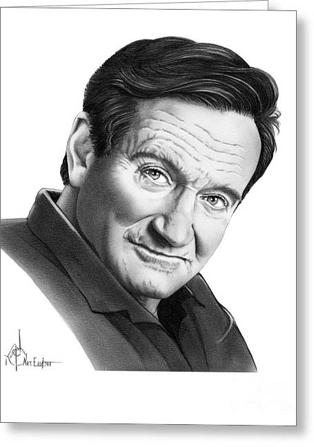 Robin Williams Greeting Card by Murphy Elliott