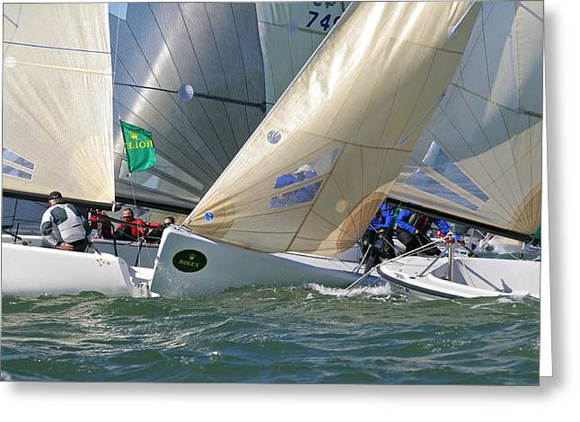 Sailboat Photos Greeting Cards - Rolex Big Boat Series Start Greeting Card by Steven Lapkin