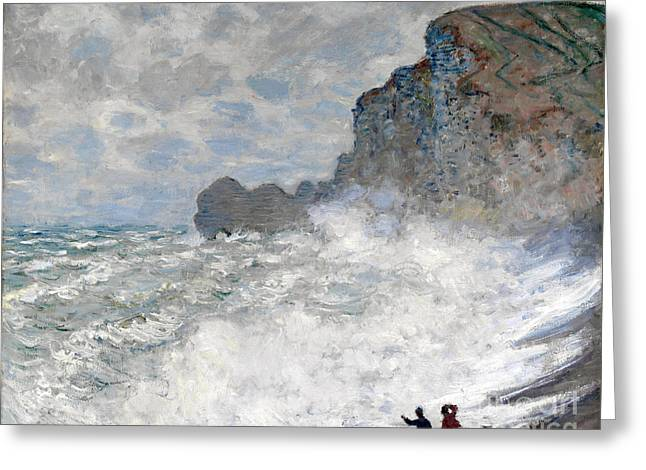 Vintage Painter Greeting Cards - Rough weather at Etretat Greeting Card by Claude Monet