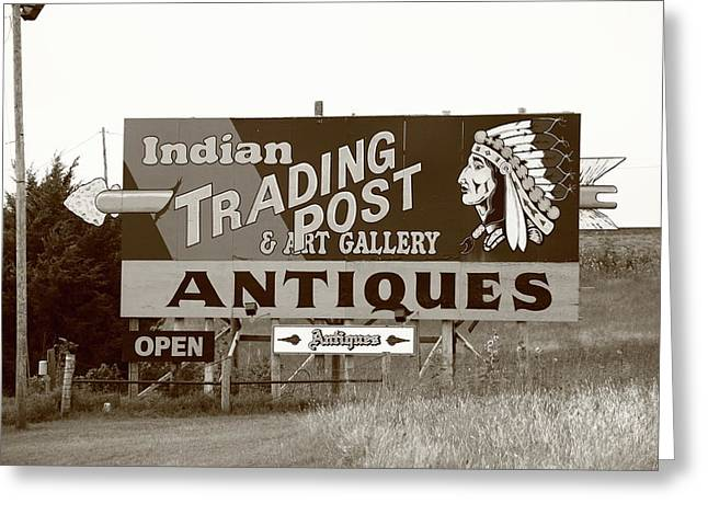Best Sellers -  - Historic Country Store Greeting Cards - Route 66 - Oklahoma Trading Post Greeting Card by Frank Romeo