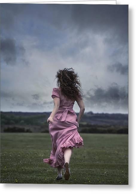 Romantic Movement Greeting Cards - Running Greeting Card by Joana Kruse