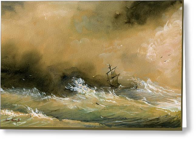 Sail Ship Watercolor Greeting Card by Juan  Bosco