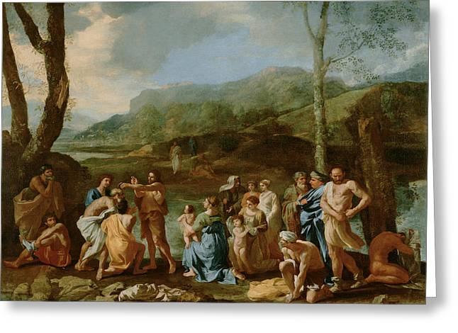Saint John Baptizing In The River Jordan Greeting Card by Nicolas Poussin