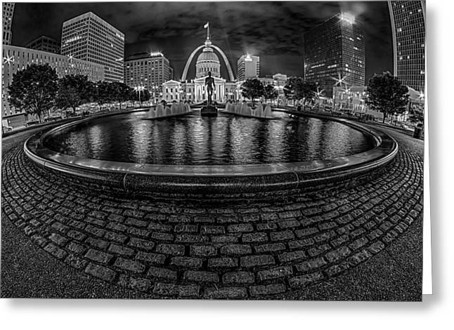 Historic Architecture Greeting Cards - Saint Louis City Skyline At Night Greeting Card by Alexandr Grichenko