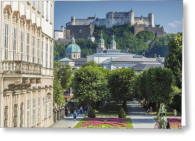Salzburg Wonderful View To Salzburg Fortress Greeting Card by Melanie Viola