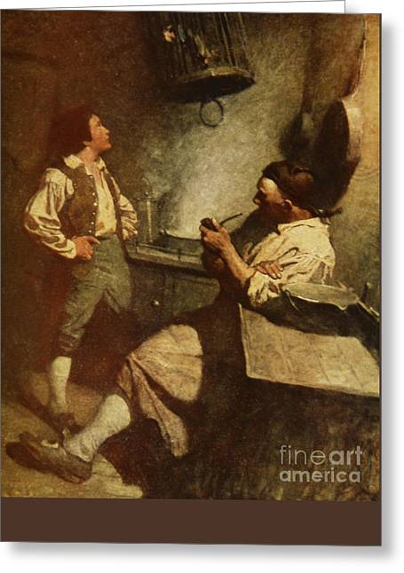 Fine Bottle Greeting Cards - Scene from Treasure Island Greeting Card by Newell Convers Wyeth